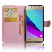 Чехол горизонтальная книжка подставка на силиконовой основе с отсеком для карт на магнитной защелке для Samsung Galaxy J2 Prime  Розовый