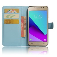 Чехол горизонтальная книжка подставка на силиконовой основе с отсеком для карт на магнитной защелке для Samsung Galaxy J2 Prime  Голубой