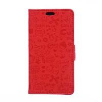 Чехол горизонтальная книжка подставка текстура Мультик на силиконовой основе с отсеком для карт на магнитной защелке для Samsung Galaxy J2 Prime  Красный