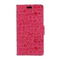Чехол горизонтальная книжка подставка текстура Мультик на силиконовой основе с отсеком для карт на магнитной защелке для Samsung Galaxy J2 Prime  Розовый