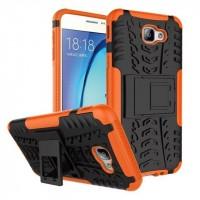 Противоударный двухкомпонентный силиконовый матовый непрозрачный чехол с нескользящими гранями и поликарбонатными вставками экстрим защиты с встроенной ножкой-подставкой для Samsung Galaxy J5 Prime Оранжевый