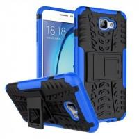 Противоударный двухкомпонентный силиконовый матовый непрозрачный чехол с нескользящими гранями и поликарбонатными вставками экстрим защиты с встроенной ножкой-подставкой для Samsung Galaxy J5 Prime Синий