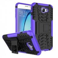 Противоударный двухкомпонентный силиконовый матовый непрозрачный чехол с нескользящими гранями и поликарбонатными вставками экстрим защиты с встроенной ножкой-подставкой для Samsung Galaxy J5 Prime Фиолетовый
