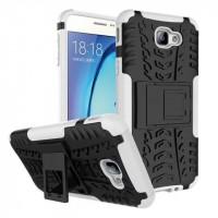 Противоударный двухкомпонентный силиконовый матовый непрозрачный чехол с нескользящими гранями и поликарбонатными вставками экстрим защиты с встроенной ножкой-подставкой для Samsung Galaxy J5 Prime Белый