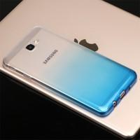 Силиконовый глянцевый полупрозрачный градиентный чехол для Samsung Galaxy J5 Prime  Голубой