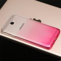 Силиконовый глянцевый полупрозрачный градиентный чехол для Samsung Galaxy J5 Prime  Розовый