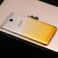 Силиконовый глянцевый полупрозрачный градиентный чехол для Samsung Galaxy J5 Prime  Желтый