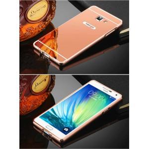 Двухкомпонентный чехол c металлическим бампером с поликарбонатной накладкой и зеркальным покрытием для Samsung Galaxy J5 Prime