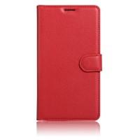 Чехол горизонтальная книжка подставка на силиконовой основе с отсеком для карт на магнитной защелке для Alcatel Shine Lite Красный