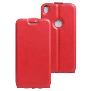 Глянцевый водоотталкивающий чехол вертикальная книжка на силиконовой основе с отсеком для карт на магнитной защелке для Alcatel Shine Lite  Красный