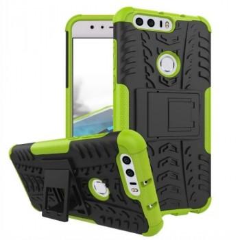 Противоударный двухкомпонентный силиконовый матовый непрозрачный чехол с поликарбонатными вставками экстрим защиты с встроенной ножкой-подставкой для Huawei Honor 8 Зеленый