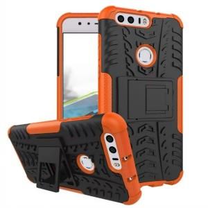 Противоударный двухкомпонентный силиконовый матовый непрозрачный чехол с поликарбонатными вставками экстрим защиты с встроенной ножкой-подставкой для Huawei Honor 8 Оранжевый