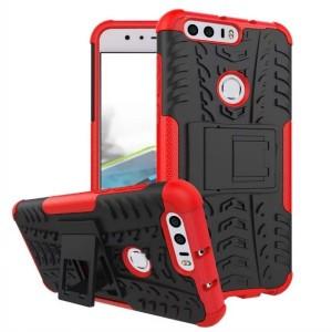 Противоударный двухкомпонентный силиконовый матовый непрозрачный чехол с поликарбонатными вставками экстрим защиты с встроенной ножкой-подставкой для Huawei Honor 8 Красный