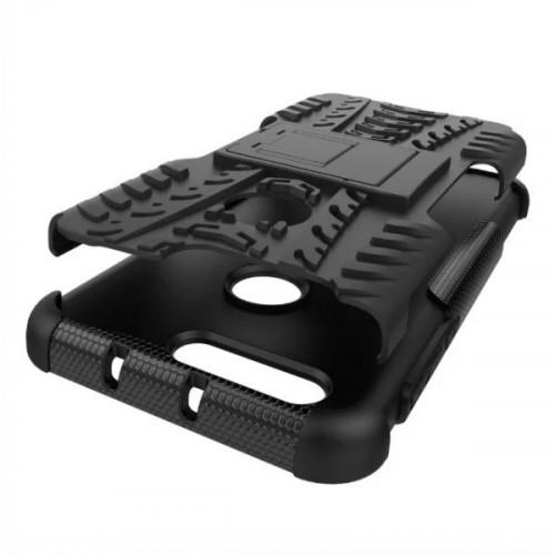 Противоударный двухкомпонентный силиконовый матовый непрозрачный чехол с поликарбонатными вставками экстрим защиты с встроенной ножкой-подставкой для Huawei Honor 8 Синий