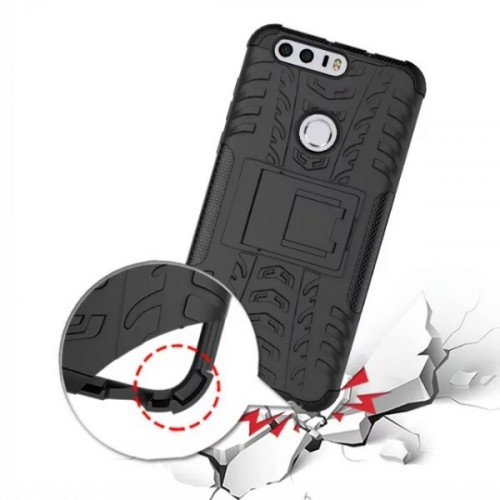 Противоударный двухкомпонентный силиконовый матовый непрозрачный чехол с поликарбонатными вставками экстрим защиты с встроенной ножкой-подставкой для Huawei Honor 8 Пурпурный