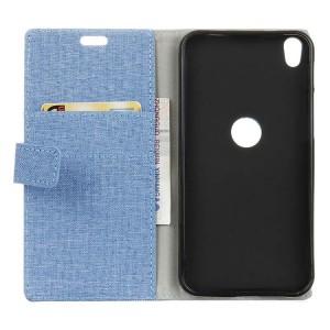 Чехол горизонтальная книжка подставка на силиконовой основе с отсеком для карт и тканевым покрытием на магнитной защелке для Alcatel Shine Lite