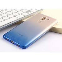 Силиконовый глянцевый полупрозрачный градиентный чехол для Huawei Honor 6X Голубой