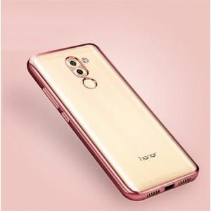 Силиконовый глянцевый полупрозрачный чехол с текстурным покрытием Металлик для Huawei Honor 6X