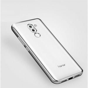 Силиконовый глянцевый полупрозрачный чехол с текстурным покрытием Металлик для Huawei Honor 6X  Серый
