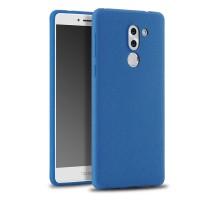 Силиконовый матовый непрозрачный чехол с нескользящим софт-тач покрытием для Huawei Honor 6X  Синий