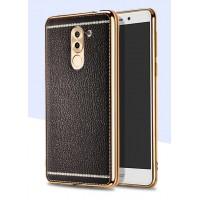 Силиконовый матовый непрозрачный чехол с текстурным покрытием Кожа для Huawei Honor 6X Черный