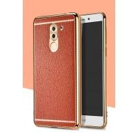 Силиконовый матовый непрозрачный чехол с текстурным покрытием Кожа для Huawei Honor 6X Оранжевый