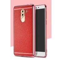 Силиконовый матовый непрозрачный чехол с текстурным покрытием Кожа для Huawei Honor 6X Красный