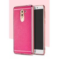 Силиконовый матовый непрозрачный чехол с текстурным покрытием Кожа для Huawei Honor 6X Пурпурный