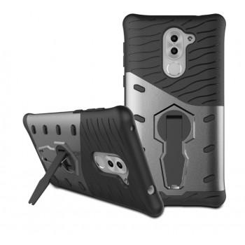 Силиконовый матовый непрозрачный чехол с поликарбонатными вставками экстрим защиты с встроенной ножкой-подставкой для Huawei Honor 6X
