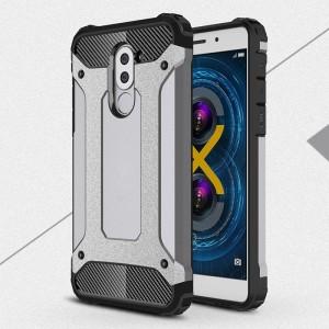 Силиконовый матовый непрозрачный чехол с поликарбонатными вставками экстрим защиты для Huawei Honor 6X Серый