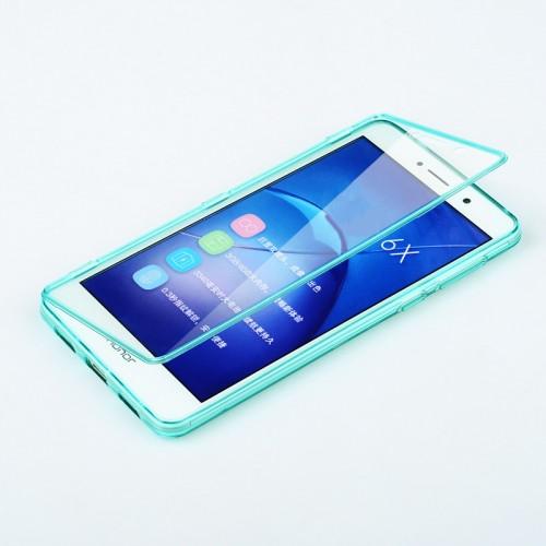 Силиконовый матовый полупрозрачный чехол горизонтальная книжка с акриловой полноразмерной транспарентной смарт крышкой для Huawei Honor 6X