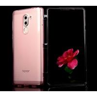 Силиконовый матовый полупрозрачный чехол горизонтальная книжка с акриловой полноразмерной транспарентной смарт крышкой для Huawei Honor 6X  Розовый
