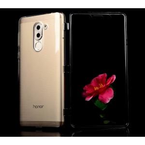 Силиконовый матовый полупрозрачный чехол горизонтальная книжка с акриловой полноразмерной транспарентной смарт крышкой для Huawei Honor 6X  Серый