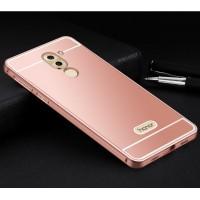 Двухкомпонентный чехол c металлическим бампером с поликарбонатной накладкой и отверстием для логотипа для Huawei Honor 6X  Розовый