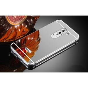 Двухкомпонентный чехол c металлическим бампером с поликарбонатной накладкой и зеркальным покрытием для Huawei Honor 6X