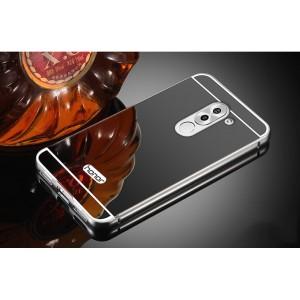 Двухкомпонентный чехол c металлическим бампером с поликарбонатной накладкой и зеркальным покрытием для Huawei Honor 6X Черный