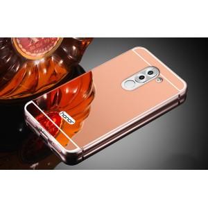 Двухкомпонентный чехол c металлическим бампером с поликарбонатной накладкой и зеркальным покрытием для Huawei Honor 6X Розовый