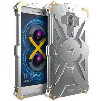 Цельнометаллический противоударный чехол из авиационного алюминия на винтах с мягкой внутренней защитной прослойкой для гаджета с прямым доступом к разъемам для Huawei Honor 6X Серый