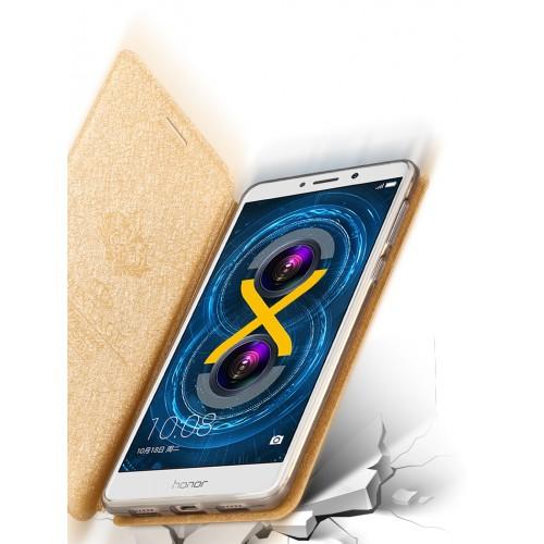 Чехол горизонтальная книжка подставка текстура Соты на силиконовой основе для Huawei Honor 6X