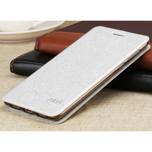 Чехол горизонтальная книжка подставка текстура Соты на силиконовой основе для Huawei Honor 6X Белый