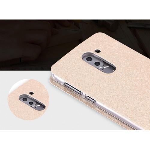 Чехол горизонтальная книжка подставка текстура Золото на силиконовой основе для Huawei Honor 6X