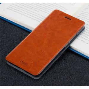 Глянцевый водоотталкивающий чехол горизонтальная книжка подставка на силиконовой основе для Huawei Honor 6X Коричневый