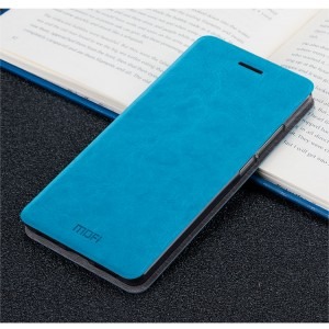 Глянцевый водоотталкивающий чехол горизонтальная книжка подставка на силиконовой основе для Huawei Honor 6X Голубой