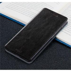 Глянцевый водоотталкивающий чехол горизонтальная книжка подставка на силиконовой основе для Huawei Honor 6X Черный