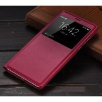 Чехол горизонтальная книжка на пластиковой основе с окном вызова для Huawei Honor 6X  Красный
