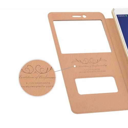 Чехол горизонтальная книжка подставка на пластиковой основе с окном вызова и свайпом для Huawei Honor 6X