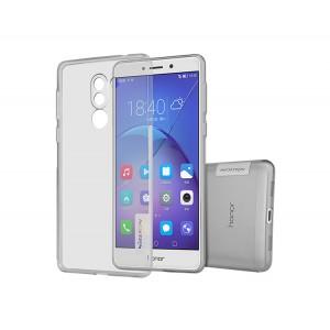 Силиконовый глянцевый полупрозрачный чехол с защитными заглушками для Huawei Honor 6X  Серый