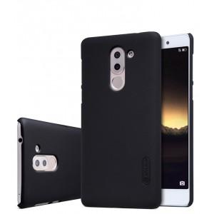 Пластиковый непрозрачный матовый нескользящий премиум чехол для Huawei Honor 6X  Черный