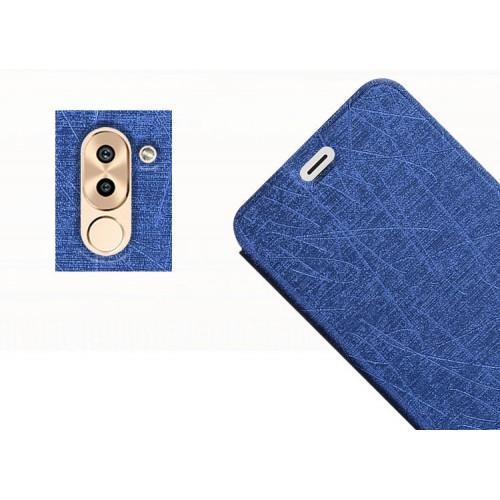 Чехол горизонтальная книжка подставка текстура Линии на силиконовой основе для Huawei Honor 6X  Синий