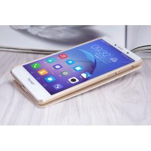 Чехол флип на пластиковой нескользящей премиум основе с окном вызова для Huawei Honor 6X Бежевый